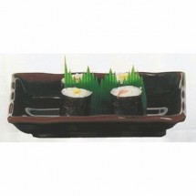 "Thunder Group 2408TM Tenmoku Rectangular Melamine Wave Plate 8 1/2"" x 5 3/4"" - 1 doz."