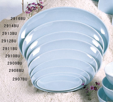 Thunder Group 2909 Blue Jade Melamine Platter 9-1/4""