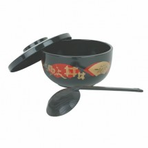 Thunder Group PLNB002 Japanese Black Soba Bowl With Lid And Ladle 30 oz