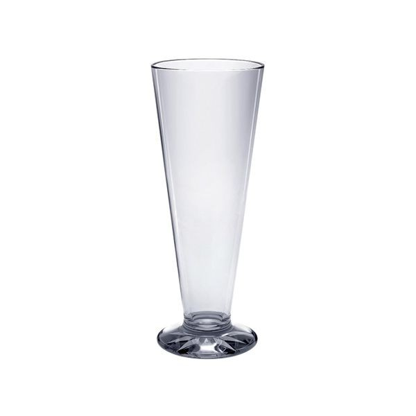 Thunder Group PLTHPS013C Polycarbonate Pilsner Glass With Starburst Base 13 oz. - 1 doz