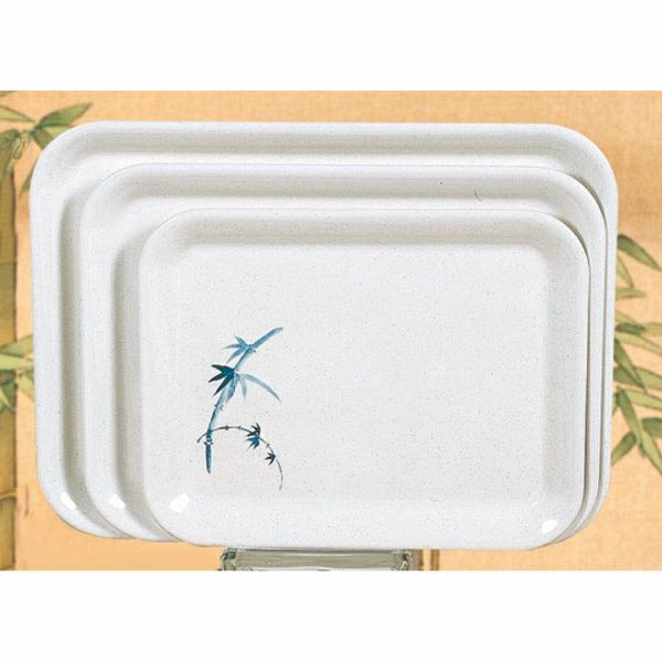 "Thunder Group 0901BB Blue Bamboo Melamine Small Tray 13-1/8"" x 10-1/4"""