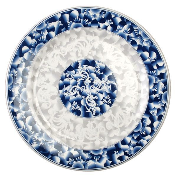 Thunder Group 1013DL Blue Dragon Melamine Round Plate 12-5/8""