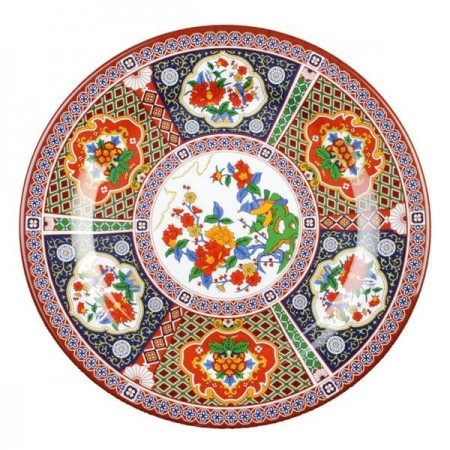 "Thunder Group 1013TP Peacock Melamine Plate 12-5/8"" - 1 doz."