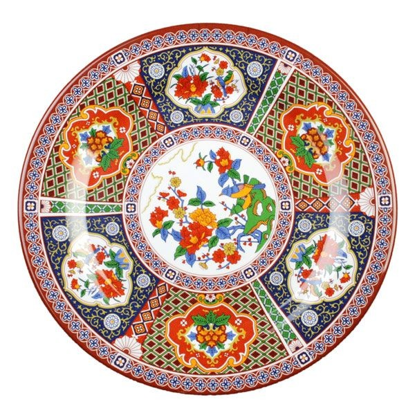 "Thunder Group 1014TP Round Peacock Plate 14-1/8"" - 1 doz"