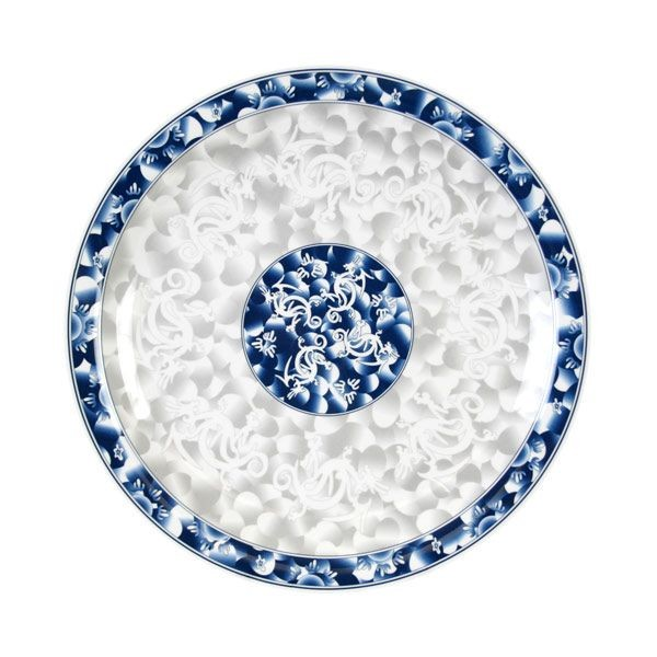 Thunder Group 1015DL Blue Dragon Melamine Round Plate 14-3/8""