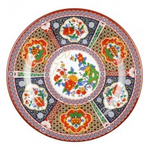 "Thunder Group 1016TP Peacock Melamine Plate 15-1/2"" - 1 doz."