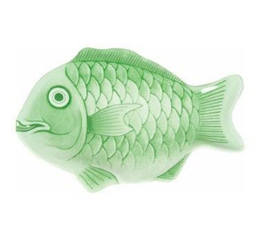"Thunder Group 1600CFG Light Green Fish Shape Melamine Platter 16"" - 3 pcs"
