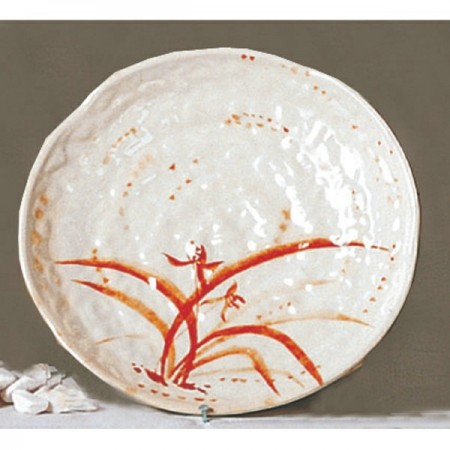 """Thunder Group 1814 Gold Orchid Lotus Shaped Melamine Plate 14"""""""