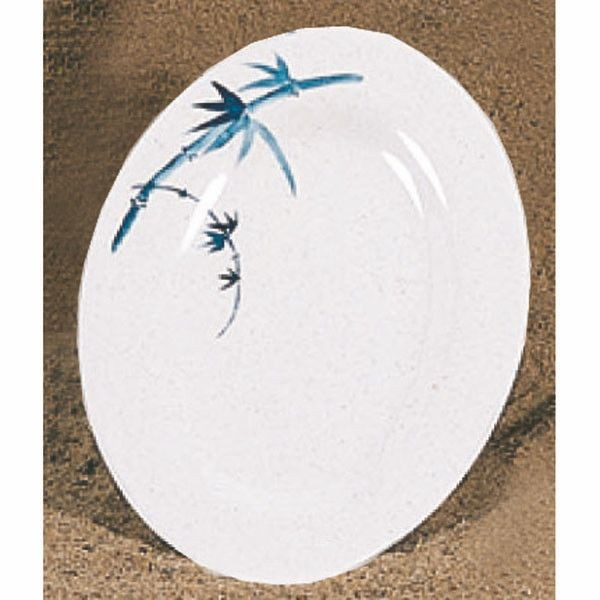 "Thunder Group 2008BB Blue Bamboo Melamine Oval Platter 8"" x 6"""