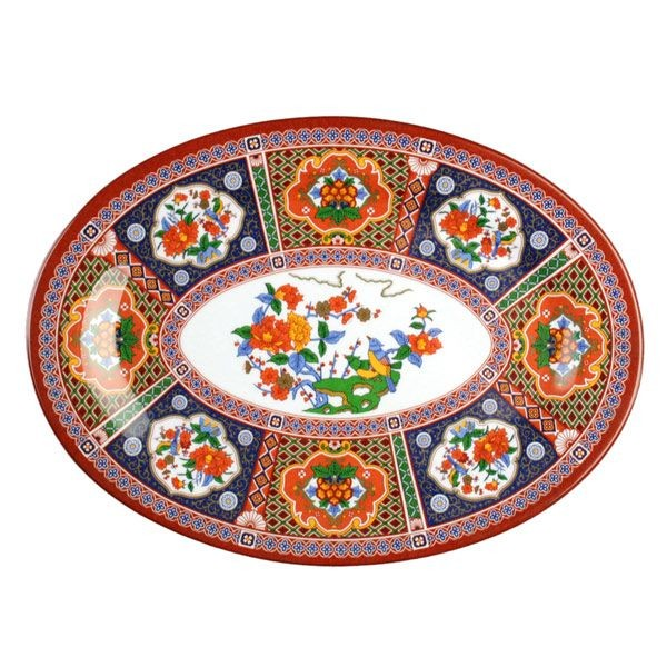 "Thunder Group 2008TP Peacock Oval Platter 8"" x 6"" - 1 doz"