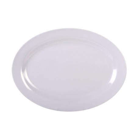 "Thunder Group 2008TW Imperial White Melamine Oval Platter 8"" x 6"""