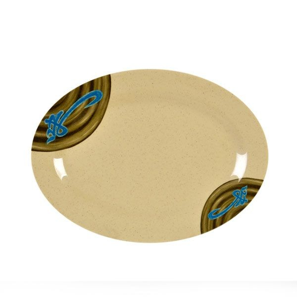 "Thunder Group 2010J Wei Asian Oval Platter 9-7/8"" x 7-1/4"""