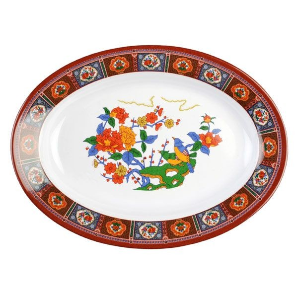 Thunder Group 2109TP Peacock Melamine Oval Deep Platter 7 oz. - 1 doz.