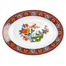 Thunder Group 2112TP Peacock Melamine Oval Deep Platter 16 oz. - 1 doz.