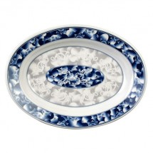 Thunder Group 2114DL Blue Dragon Melamine Deep Oval Platter 14-1/8""
