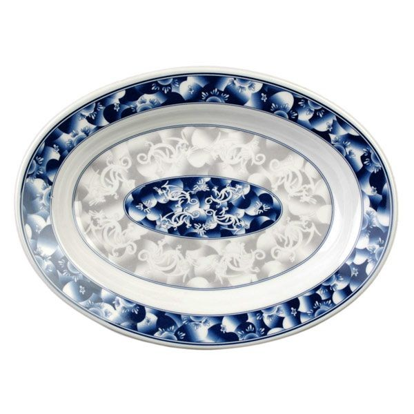 Thunder Group 2114DL Blue Dragon Deep Oval Platter 14-1/8""
