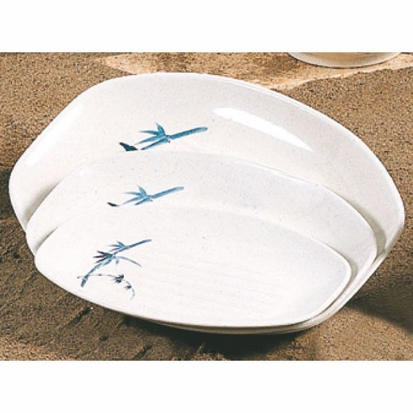"Thunder Group 2311BB Blue Bamboo Teriyaki Tray 10-3/4"" x 7-7/8"""