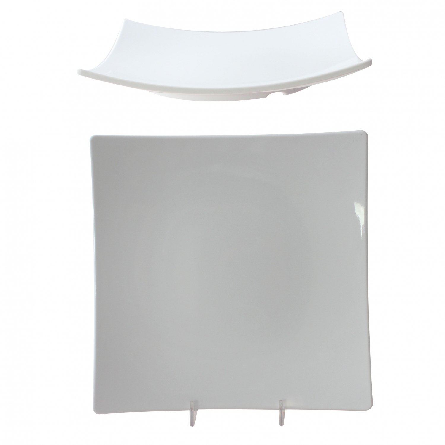 "Thunder Group 24010WT Classic White Series Square Plate 10"" - 1 doz"