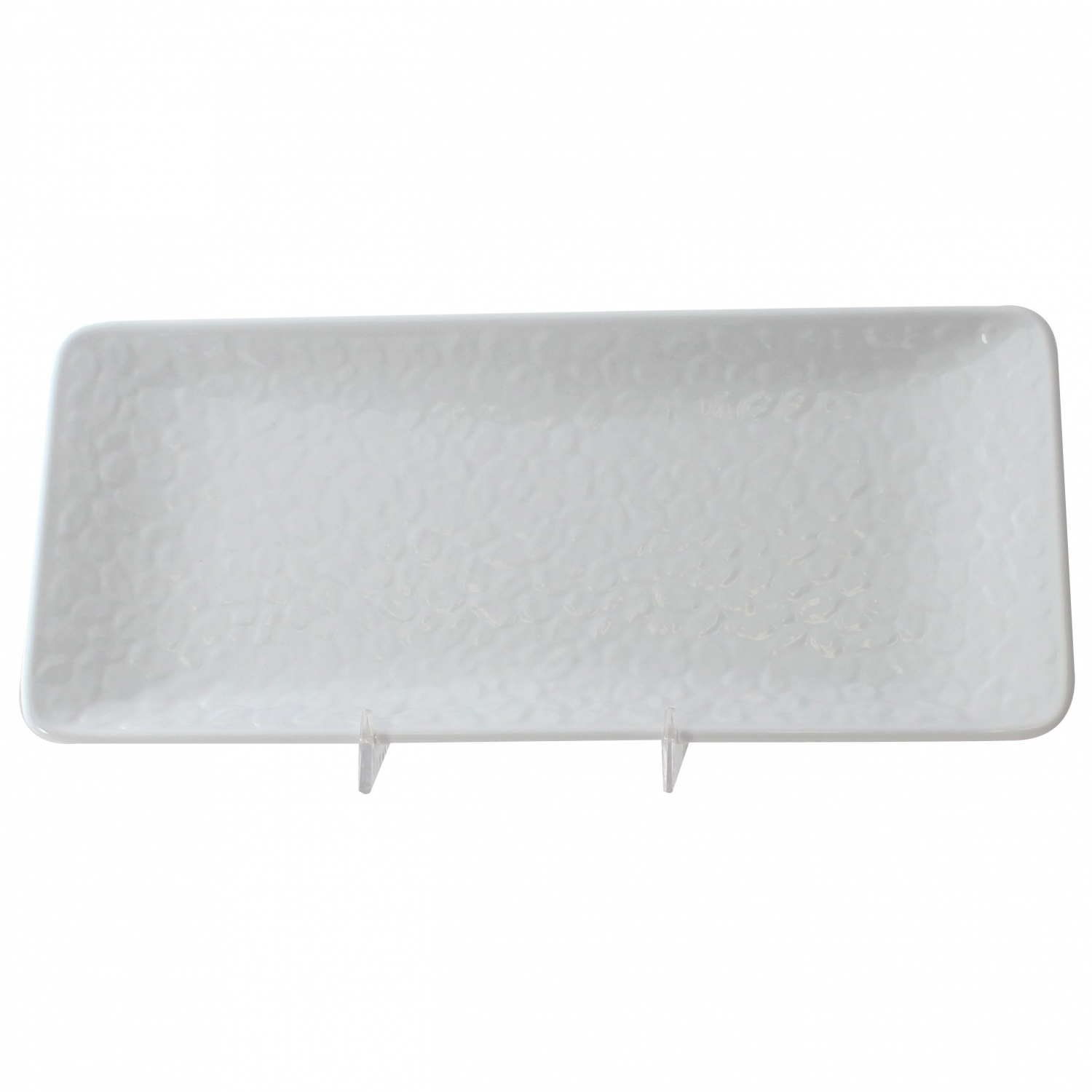 "Thunder Group 24110WT Classic White Melamine Rectangular Plate 11-1/4"" x 5"" - 1 doz."