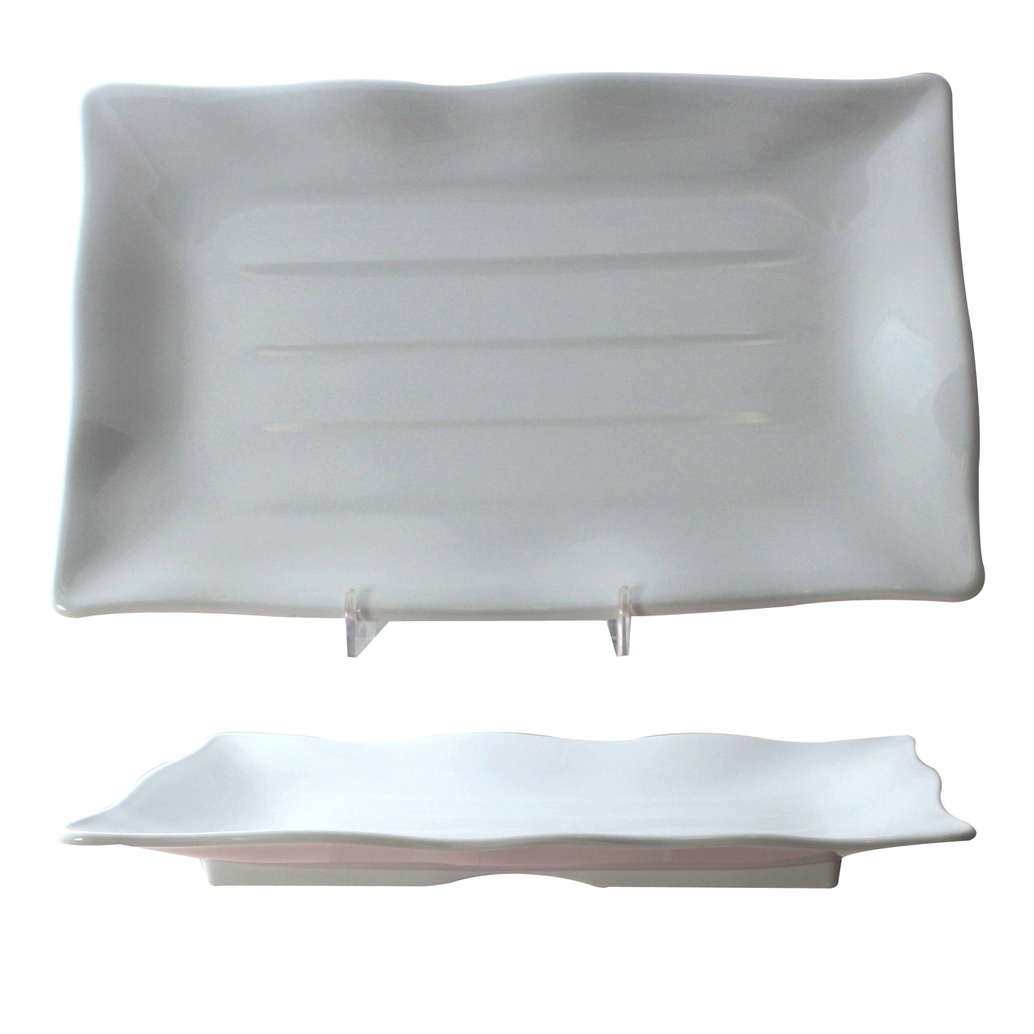 "Thunder Group 24140WT Classic White Melamine Rectangular Wave Plate 13-1/2"" x 9-1/8"" - 1 doz."
