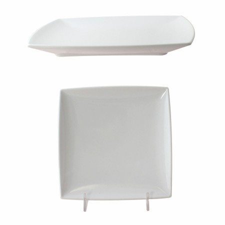 "Thunder Group 29006WT Classic White Melamine Square Plate 6"" - 1 doz."