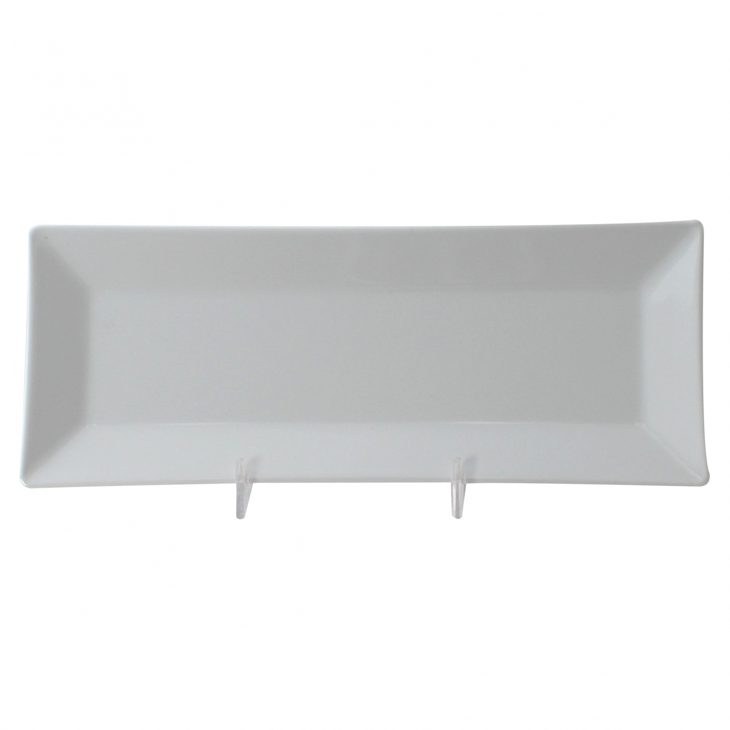 "Thunder Group 29110WT Classic White Melamine Rectangular Plate 10-1/4"" x 4"" - 1 doz."