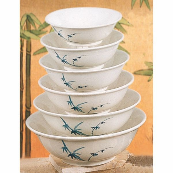 Thunder Group 5085BB Blue Bamboo Melamine Noodle Bowl 70 oz.