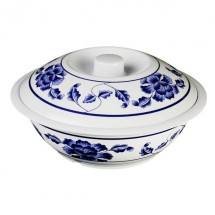 Thunder Group 8010TB Lotus Melamine Serving Bowl with Lid 75 oz.