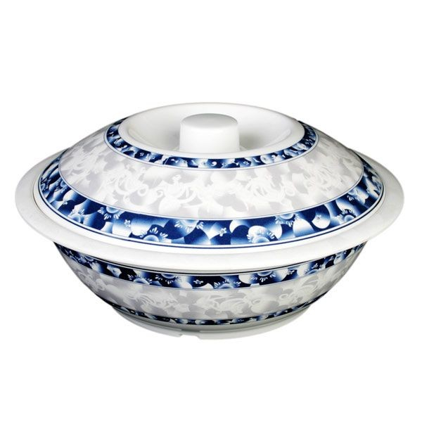 Thunder Group 8011DL Blue Dragon Melamine Serving Bowl with Lid 80 oz.