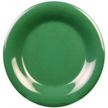 "Thunder Group CR006GR Green Round Wide Rim Plate 6-1/2"" - 1 doz"