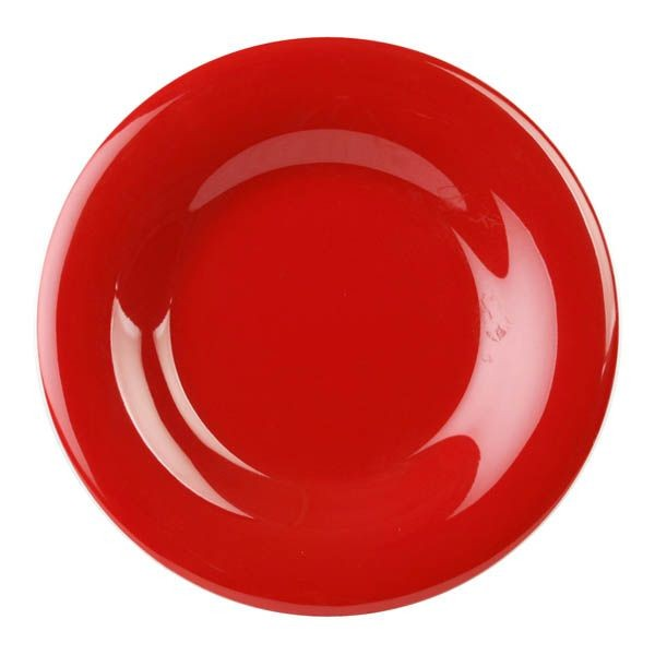 "Thunder Group CR007PR Pure Red Round Wide Rim Plate 7-1/2"" - 1 doz"