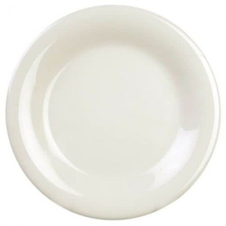 "Thunder Group CR012V Ivory Wide Rim Melamine Plate 12"" - 1 doz"