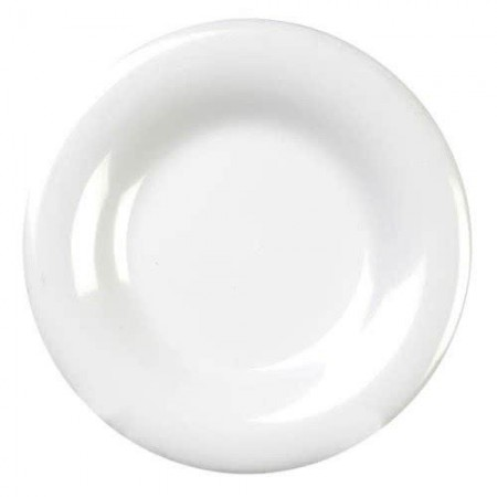 "Thunder Group CR012W White Wide Rim Melamine Plate 12"" - 1 doz"