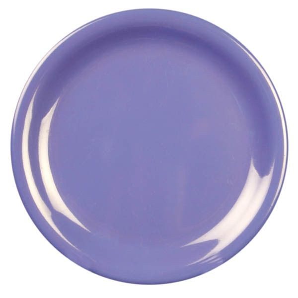 "Thunder Group CR106BU Purple Melamine Narrow Rim Round Plate  6-1/2""  - 1 doz"
