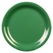"Thunder Group CR106GR Green Melamine Narrow Rim Round Plate  6-1/2"" - 1 doz"