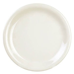 "Thunder Group CR106V Ivory Round Narrow Rim Plate 6-1/2"" - 1 doz"