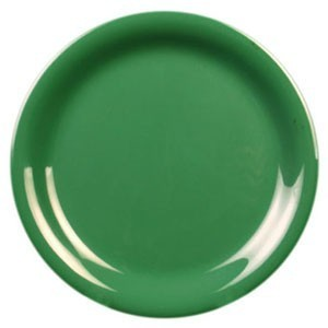 "Thunder Group CR107GR Green Narrow Rim Melamine Plate 7-1/4"" - 1 doz."