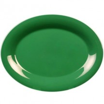 "Thunder Group CR213GR Green Melamine Oval Platter 13-1/2"" x 10-1/2"" - 1 doz"