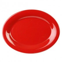 "Thunder Group CR213PR Pure Red Melamine Oval Platter 13-1/2"" x 10-1/2"" - 1 doz"