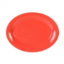 "Thunder Group CR213RD Orange Melamine Oval Platter 13-1/2"" x 10-1/2"" - 1 doz"