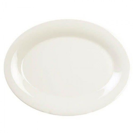 "Thunder Group CR213V Ivory Melamine Oval Platter 13-1/2"" x 10-1/2"" - 1 doz"
