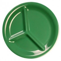 "Thunder Group CR710GR Green 3-Compartment Melamine Plate 10-1/4"" - 1 doz"