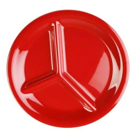 "Thunder Group CR710PR Pure Red 3-Compartment Melamine Plate 10-1/4"" - 1 doz"