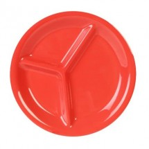 "Thunder Group CR710RD Orange 3-Compartment Melamine Plate 10-1/4"" - 1 doz"