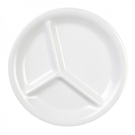 "Thunder Group CR710W White 3-Compartment Melamine Plate 10-1/4"" - 1 doz."