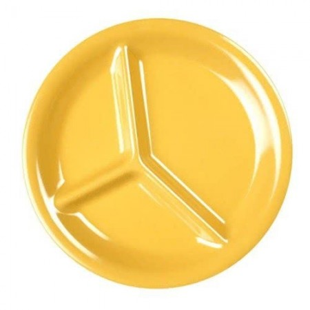 """Thunder Group CR710YW Yellow 3-Compartment Melamine Plate 10-1/4"""" - 1 doz"""