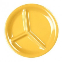"Thunder Group CR710YW Yellow 3-Compartment Melamine Plate 10-1/4"" - 1 doz"