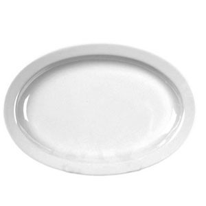 "Thunder Group NS510W Nustone White Melamine Narrow Rim Oval Platter 9-1/2"" x 6-3/4"" - 1 doz."