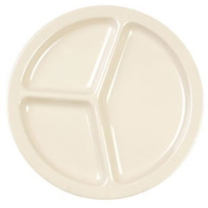 """Thunder Group NS701 Nustone 3-Compartment Deep Melamine Serving Plate 8-3/4"""" - 1 doz."""