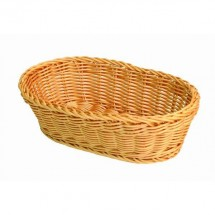 "Thunder Group PLBB1107 Oval Plastic Hand-Woven Basket 11"" x 7"""